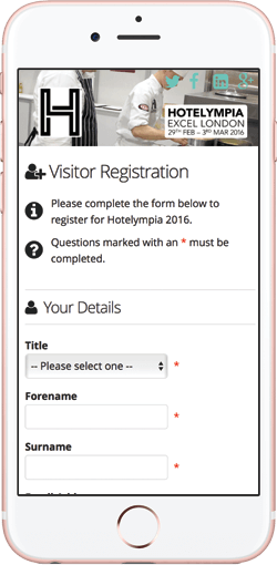 mobile registration pages