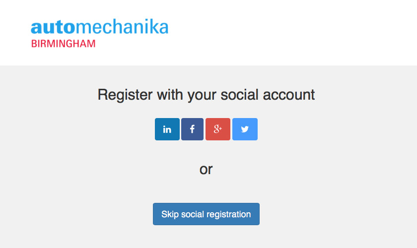 Registration Pages Example